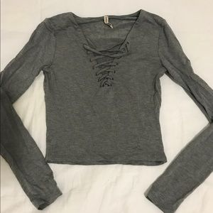 LF Emma & Sam Gray Lace Up Crop Top